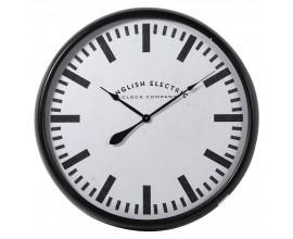 Dizajnové retro závesné hodiny Everlest s bielo-čiernym kruhovým minimalistickým ciferníkom