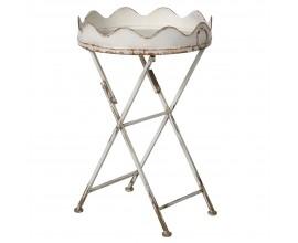 Vintage bledý okrúhly príručný stolík Curle s prekríženými nohami 48cm