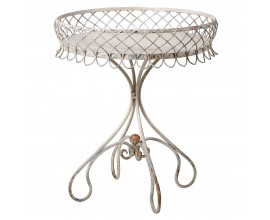 Vintage kruhový príručný stolík Dovey v bledom odtieni z ohýbaného kovu 68cm