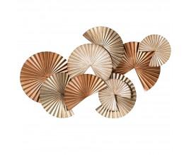 Art-deco nástenná dekorácia Fane v tvare vejárov v strieborno-bronzovom odtieni 87cm
