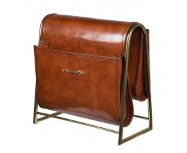 Štýlový hnedý kožený vintage stojan na časopisy Ron so zlatou podstavou s vintage patinou