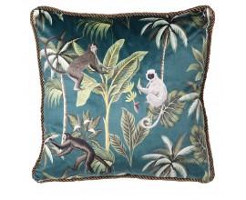 Art-deco zelený vankúš Tropo so vzorom opíc a paliem 45cm
