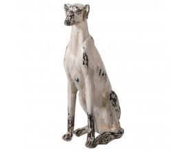 Vintage krémovo biela socha Chadora v tvare sediaceho psa 77cm