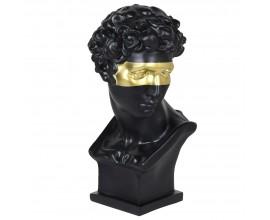 Art-deco luxusná čierna busta Cabez so zlatou maskou 57cm