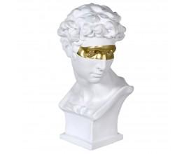 Art-deco biela busta Cabez so zlatou maskou 57cm