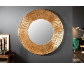 Art-deco dizajnové okrúhle nástenné zrkadlo Reondel v ráme zlatej farby 100cm