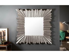 Art-deco štýlové štvorcové nástenné zrkadlo Cuadrado v hrubom ráme striebornej farby 96cm
