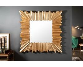 Art-deco dizajnové štvorcové nástenné zrkadlo Cuadrado v hrubom ráme zlatej farby 96cm