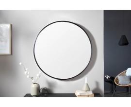 Moderné štýlové okrúhle nástenné zrkadlo Smialls v čiernom ráme 80cm