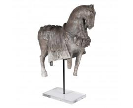 Vintage šedá originálna soška koňa Archer na akrylovom podstavci 49cm