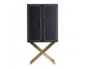 Art-deco luxusná čierna barová skriňa SALZBURGO z kože so zlatým zdobením
