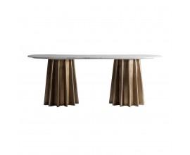 Art-deco zlatý jedálenský stôl Lezey s oválnou mramorovou doskou v bledom odtieni 200cm