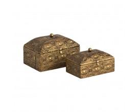 Sada dvoch šperkovníc Oriente 18cm vintage zlatá