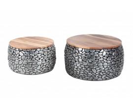 Dizajnový set dvoch konferenčných stolíkov z kovu s masívnou vrchnou doskou z akácie Riverstone 65cm