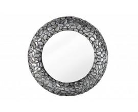 Industriálne luxusné nástenné zrkadlo Riverstone v okrúhlom ráme šedej farby 80cm