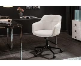 Nadčasová moderná biela kancelárska stolička Tapiq na kolieskach s poťahom z ekokože