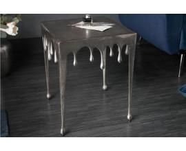 Art-deco príručný stolík Liquid Line strieborný 44cm