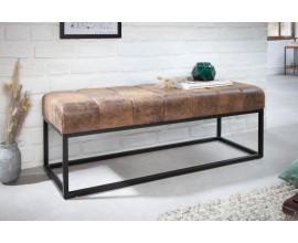 Industriálna dizajnová obdĺžniková lavica Lincoln s čiernymi nohami 110cm