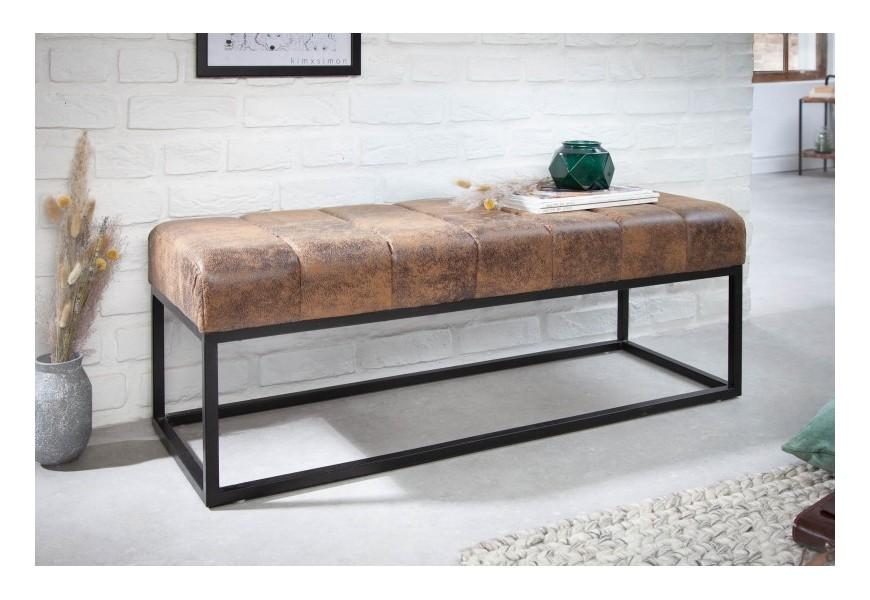 Retro štýlová lavica Taxil s hnedým poťahom a čiernou kovovou konštrukciou 110cm