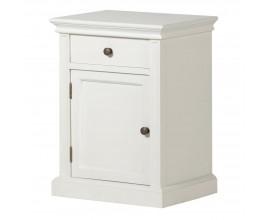 Provensálsky nočný stolík Amarante so zásuvkou a dvierkami v bielej farbe 60cm