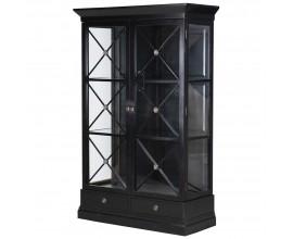 Art-deco luxusná vitrína Pinesdale v čiernej farbe 209cm