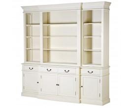 Provensálska biela luxusná knižnica Riva Crema so zásuvkami, dvierkami a poličkami 230cm