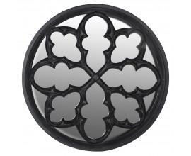 Gotické exkluzívne kruhové zrkadlo Edgar s ornamentálnym dreveným rámom 122cm