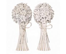 Dizajnová dekorácia dvoch kytíc kvetov Floral zo živice a kovu