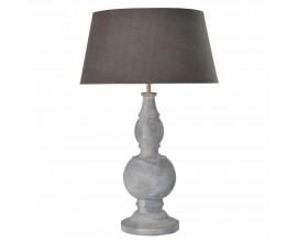 Klasická stolná lampa Nadine z mangového dreva so sivým tienidlom 80cm