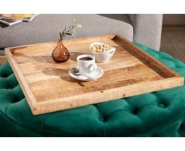 Masívny dizajnový hnedý podnos Makassar z masívneho mangového dreva 50cm
