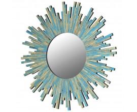 Art-deco nástenné kruhové zrkadlo Minne v modrej farbe z dreva 78cm