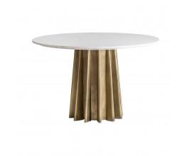 Štýlový mramorový okrúhly jedálenský stôl Lezey s bledou doskou a zlatou kovovou nohou v štýle Art-deco