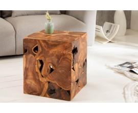 Vidiecky masívny príručný stolík Vezelay z teakového dreva 40cm