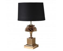 Art-deco stolná lampa Josie mosadzná s čiernym tienidlom 75cm