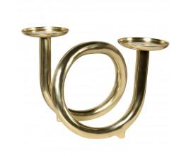 Art-deco luxusný dvojitý svietnik Leeland zlatej farby z kovu 34cm