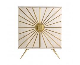 Art-deco luxusná komoda Prem v krémovom odtieni so zlatými prvkami 96cm