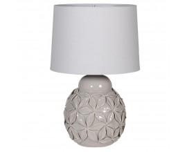 Elegantná keramická nočná lampa Petals v sivej farbe s florálnym motívom a bielym tienidlom 55cm