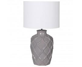 Jedinečná nočná lampa Elador  v sivej farbe z keramiky s okrúhlym bielym tienidlom