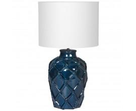 Elegantná keramická nočná lampa Elador II v modrej farbe s ornamentálnym motívom a bielym tienidlom 62cm