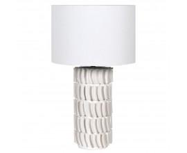 Moderná dizajnová keramická stolná lampa Edin v bielej farbe s okrúhlym ľanovým tienidlom