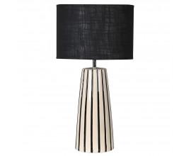 Štýlová retro stolná lampa Alesia s bielo-čiernou keramickou konštrukciou