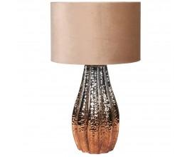 Luxusná keramická nočná lampa Camrose v bronzovej farbe s béžovým zamatovým tienidlom