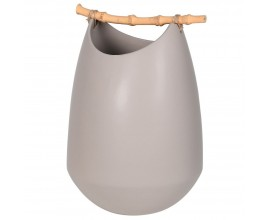 Štýlová kameninová váza Brooks v sivej farbe s bambusom 30cm