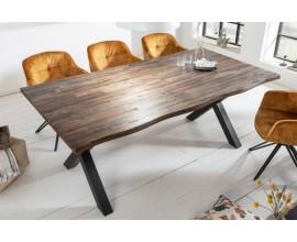 Industriálny jedálenský stôl Andala z masívneho agátového dreva hnedej farby 160cm