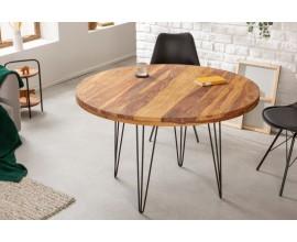 Masívny okrúhly jedálenský stôl Makassar z dreva sheesham hnedej farby 120cm