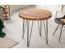 Dizajnový okrúhly jedálenský stôl Makassar z masívneho palisandrového dreva hnedej farby s čiernymi nohami z kovu