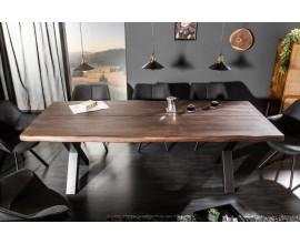 Industriálny jedálenský stôl Spin z masívneho akáciového dreva s kovovými nohami 220cm