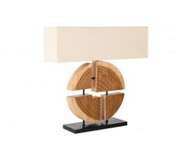 Moderná stolná lampa Vilma s drevenou konštrukciou a béžovým tienidlom z ľanu 78cm