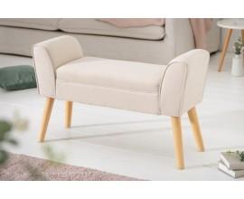 Škandinávska čalúnená lavica Karen béžovej farby s drevenými nohami 90cm