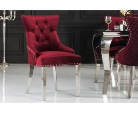 Dizajnová jedálenská stolička Eleanor v zámockom štýle s červeným poťahom s chesterfield prešívaním
